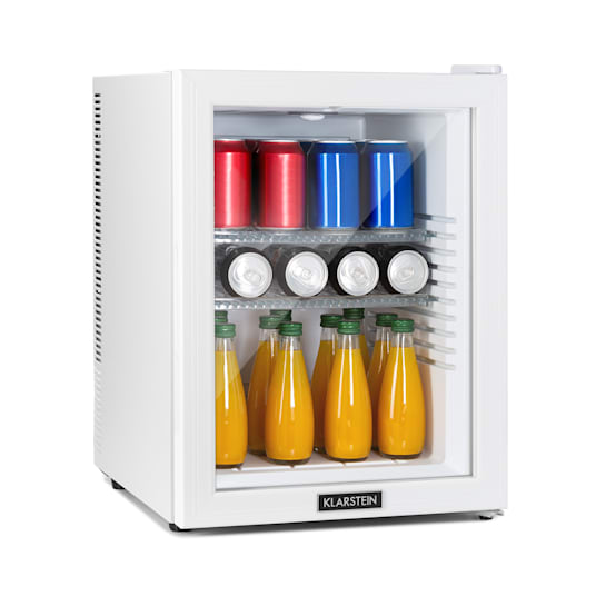 Klarstein Brooklyn 42 White Mini-Kühlschrank EEC A Glastür LED Ablage weiß