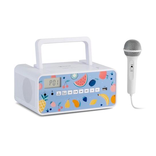 Kidsbox Fruits, CD-boombox, CD-soitin, Bluetooth, USB, LCD-näyttö, hedelmät, valkoinen