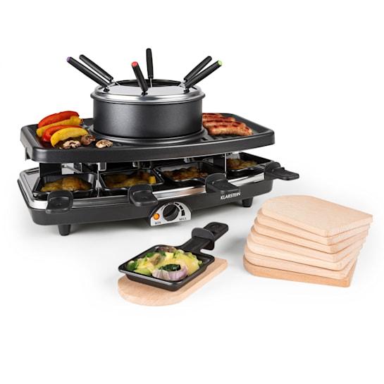 Entrecote, Grill 2in1 per Raclette & Fonduta, Pietra Naturale, 8 Persone, Sottopadella, 1100W