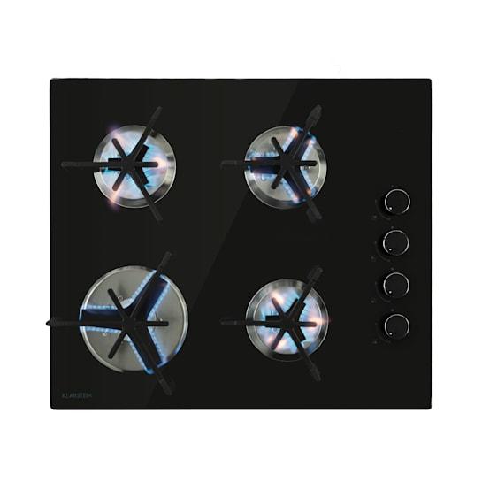 Trifecta 4, plinska ploča za kuhanje, 4 trokutasta plamenika, staklokeramika, crna