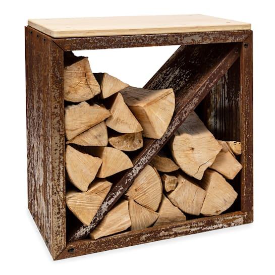 Firebowl Kindlewood S Rust, legnaia, panca, 57x56x36cm, bambù, zinco