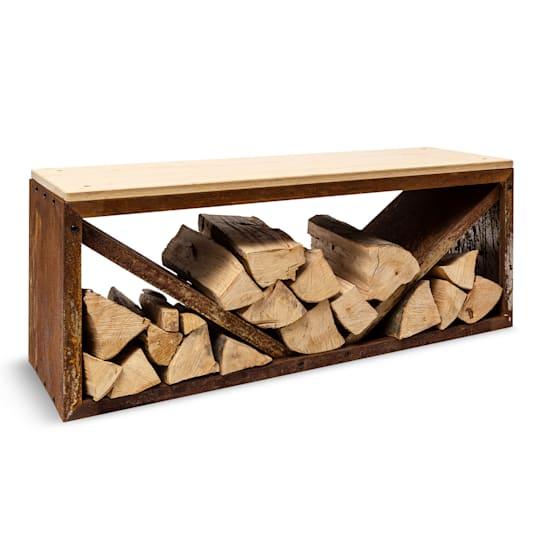 Firebowl Kindlewood L Rust, legnaia, panca, 104x40x35cm, bambù, zinco