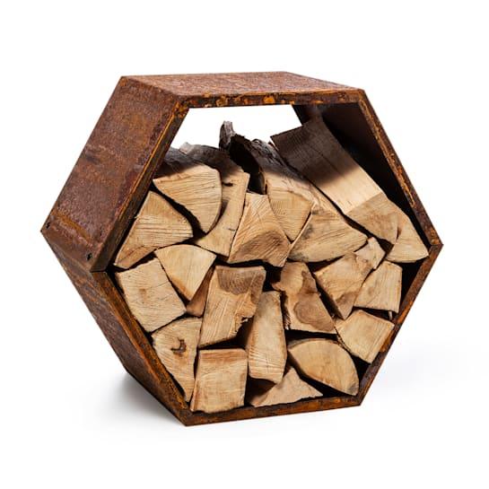 Firebowl Hexawood Rust, legnaia, esagonale, 50,2x58x32cm