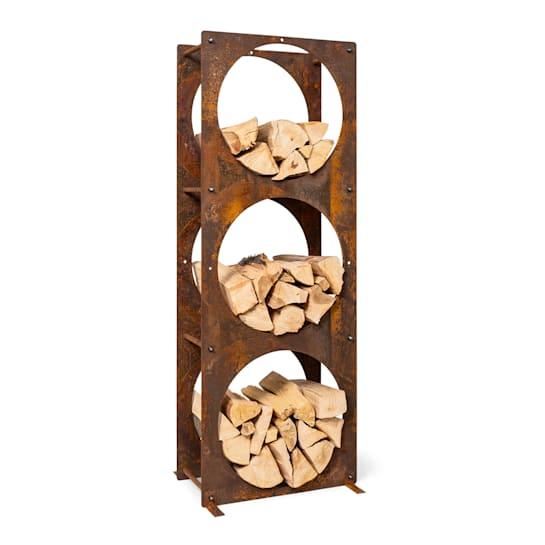 Trio Circulo, legnaia, 55 x 160 x 30 cm, acciaio da 3 mm, scaffale, color ruggine