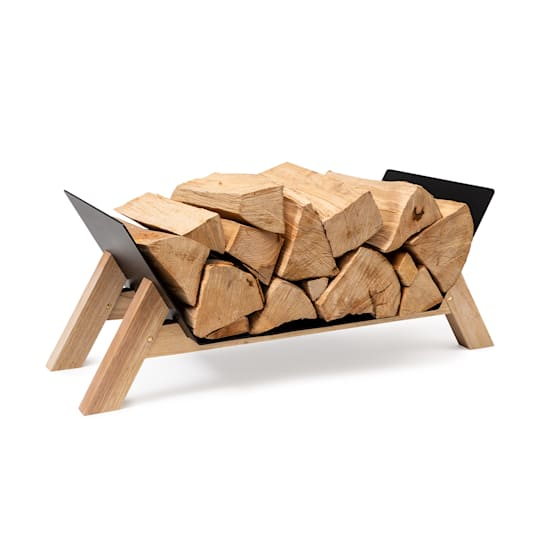 Firebowl Langdon Wood Black, legnaia, 68x38x34 cm, acciaio e legno