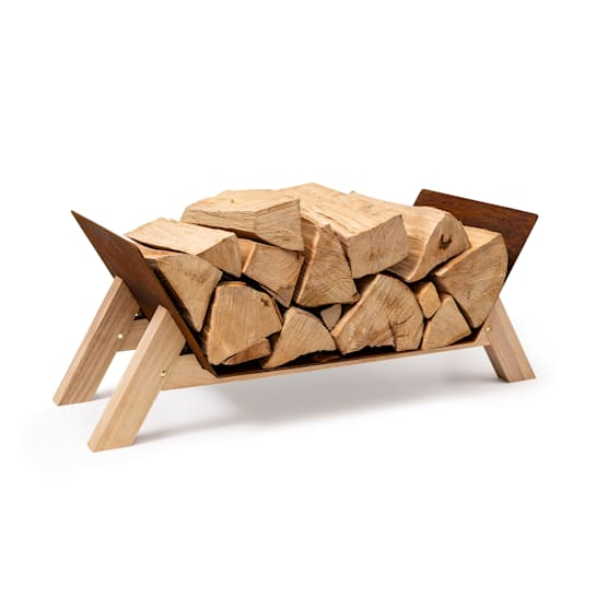 Firebowl Langdon Wood Rust, legnaia, 68x38x34 cm, acciaio e legno