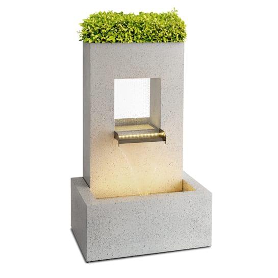 Bloomingstone, fontana, fontana da giardino, fontana ornamentale, 20W, pompa, zinco, LED