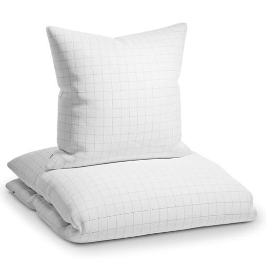 Soft Wonder-Edition, posteľná bielizeň, biela/sivá károvaná, 135 x 200 cm, 80 x 80 cm