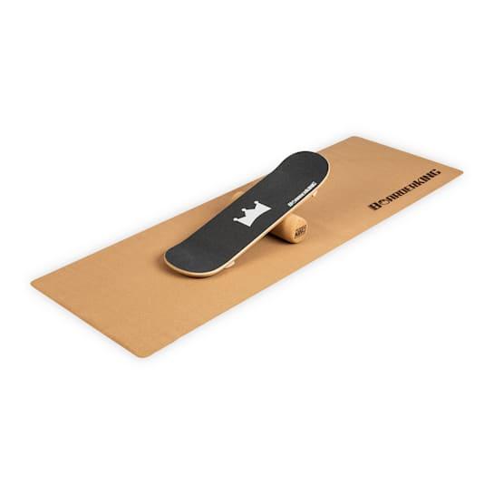 Indoorboard Skate Balance Board + Matte + Rolle Holz / Kork
