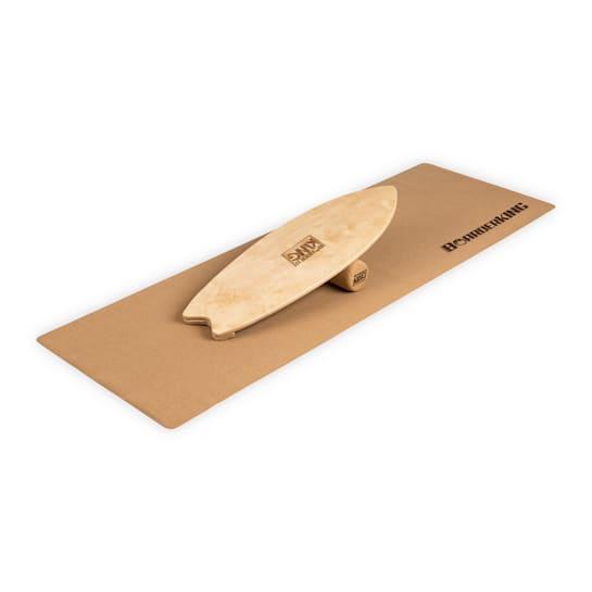 Indoorboard Wave, tasapainolauta + matto + rulla, puu/korkki, luonnonvärinen