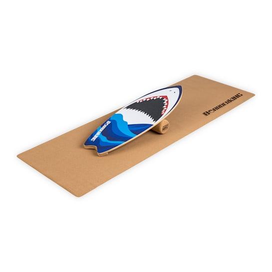 Indoorboard Wave Shark Balance Board + Matte + Rolle Holz / Kork