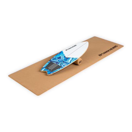 Indoor Wave, tasapainolauta + matto + rulla, puu/korkki