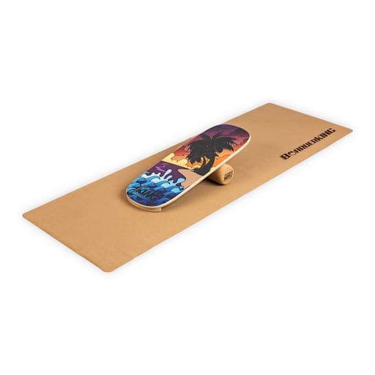 Indoorboard Classic, tasapainolauta + matto + rulla, puu/korkki, punainen