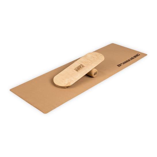 Indoorboard Classic planche d'équilibre + tapis + rouleau bois / liège naturel