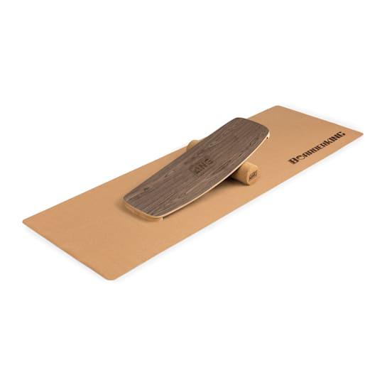Indoorboard Curved Balance Board + Matte + Rolle Holz / Kork