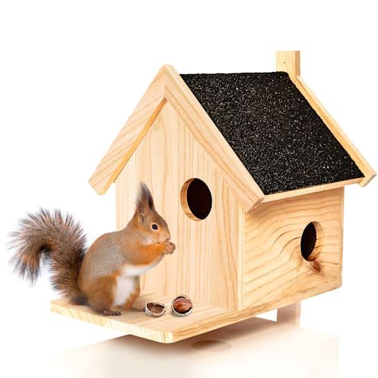 Squirrel drey feeder overwintering 4 entrances pine wood untreated handmade