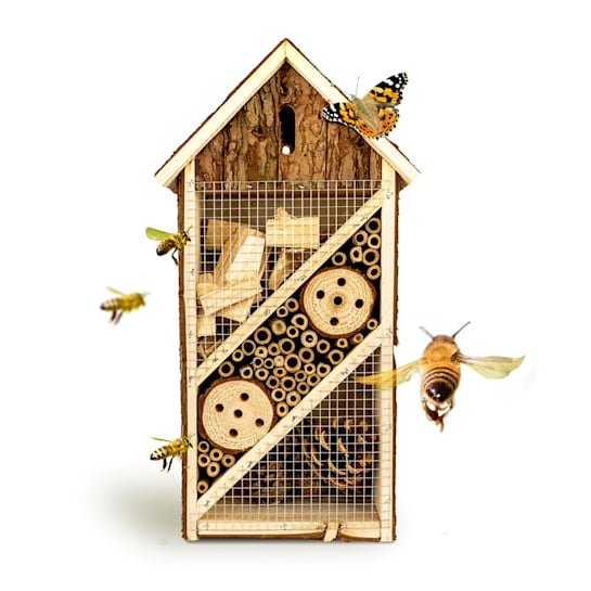 Bug hotel with narrow pitched roof suspension, habitable wood all year round
