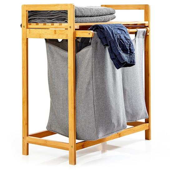 Wäschestation 2 herausnehmbare Säcke Bambus Baumwolle