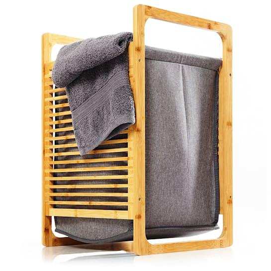 Wäschekorb Bambus Baumwollleinen einfacher Aufbau