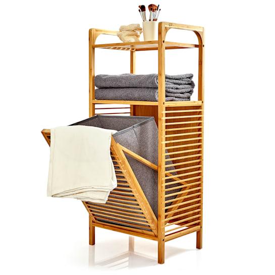 2-in-1 Standregal 2 Ablagefächer herausnehmbarer Korb Bambus Baumwolle