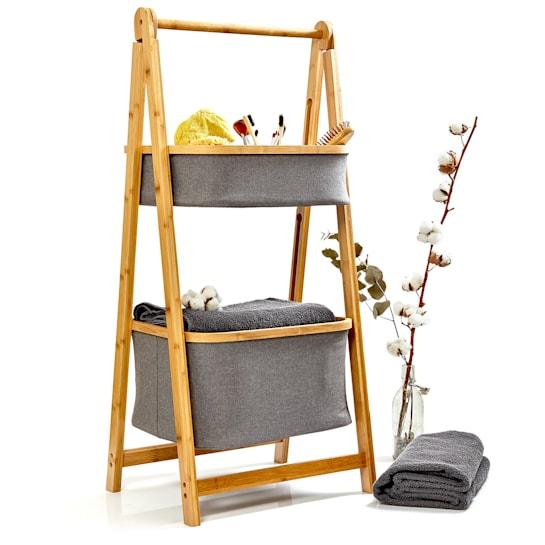Badezimmer-Regal 2 Körbe 2 Etagen Bambus zusammenklappbar