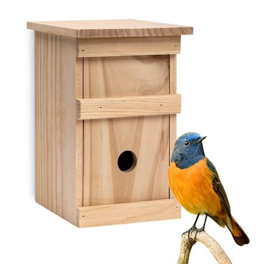 Bird house for cave breeders, untreated natural wood, ready-to-use hanging loop