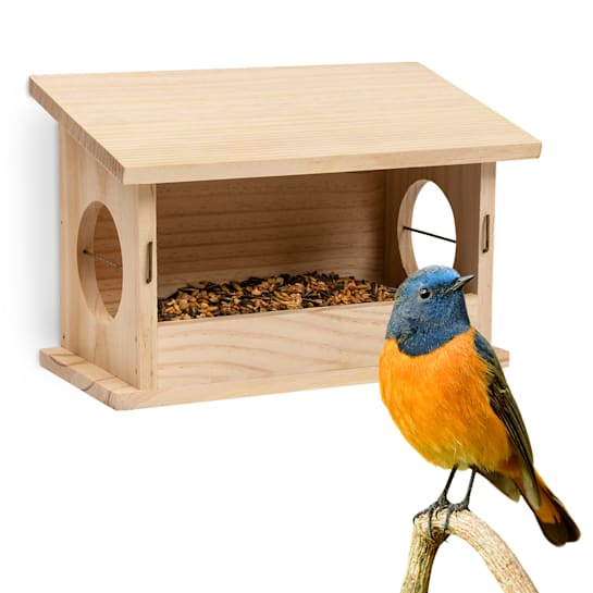 Bird feeding station untreated natural wood hanging cord fully assembled