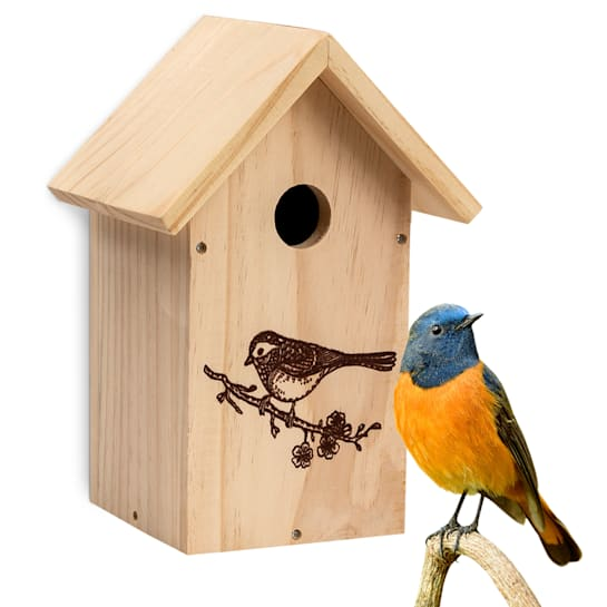 Bird house for cave breeders pointed roof untreated natural wood eyelet pre-assembled