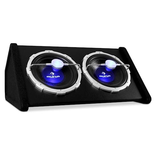Subwoofer auto cassa bassi hi-fi 2x30cm led blu 2000W