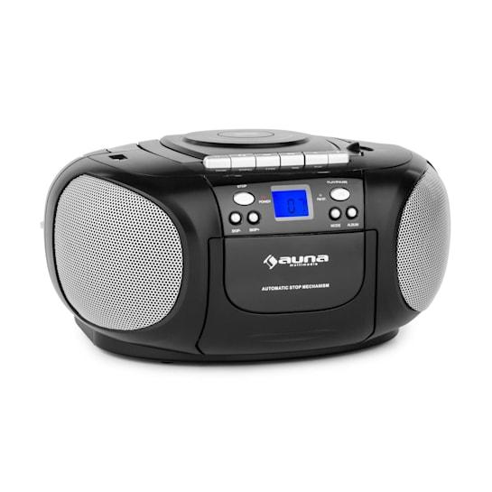 BeeBerry Boom Box Ghettoblaster Radio CD/MP3 Player Tape Player black