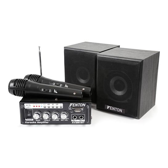 AV380BT complete karaokeset versterker 2x luidspreker 2x microfoon BT SD