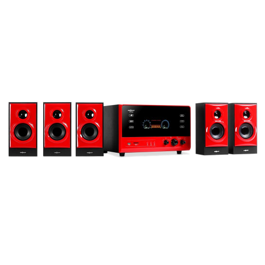V51, aktivní 5.1 systém, USB, SD, AUX, červený