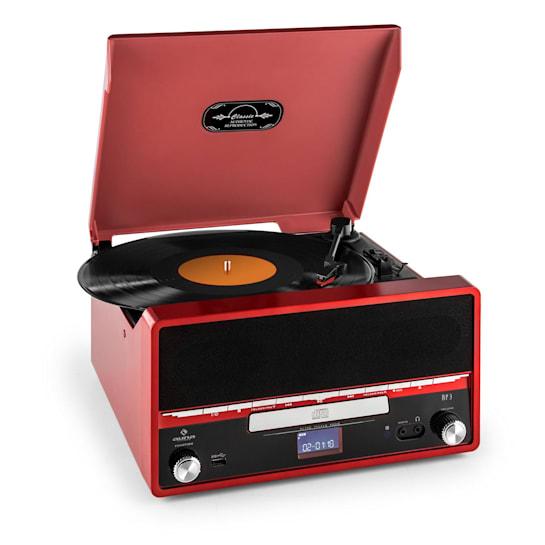 RTT 1922 Retro Vinyl Stereo CD MP3 USB AUX FM Recording Alarm ClockRed