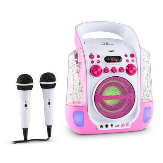 Kara Liquida Impianto Karaoke CD USB MP3 Getto D'Acqua LED 2 x Microfoni Portatile