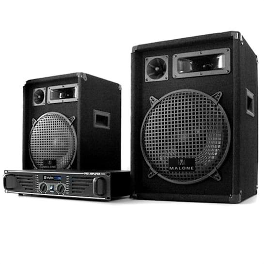 Cdj set dj sistema pa disco 2x casse amplificatore cavi
