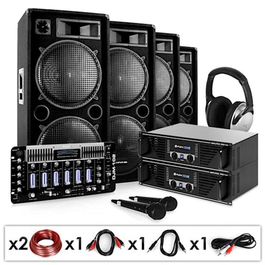 """DJ Set """"Bass First Pro"""" 2x Amp 4x Casse Mixer 4000W"""
