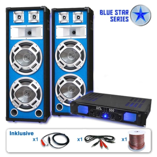 """PA Set Blue Star Series """"Bassveteran"""" Lautsprecher Verstärker"""