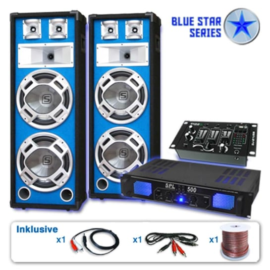 Sistema casse subwoofer amplificatore 1600W mixer pa dj