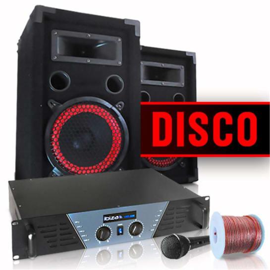 "Set DJ ""Disco"" amplificatore, casse e microfono"