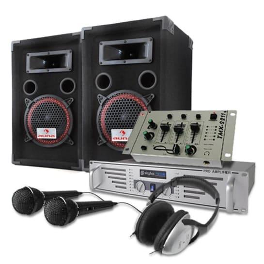 DJ PA set 1000W boxen versterker mengpaneel koptelefoon microfoon