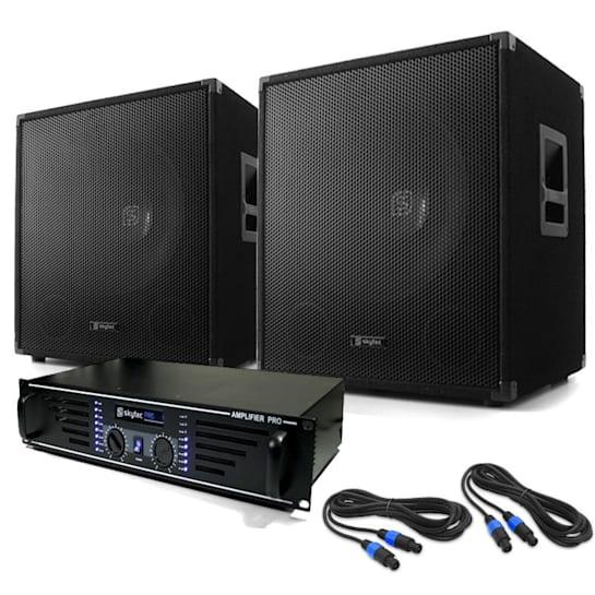 DJ PA System 'Lewis 1200 Bass' - Amplifier Subwoofer Set 1200W
