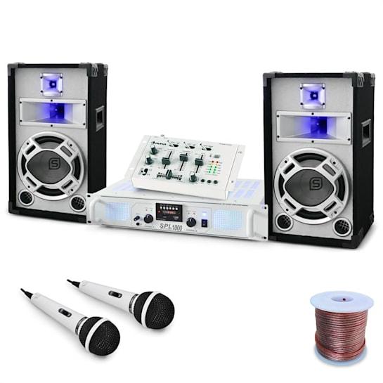 """DJ PA Set """"Polar Fox"""" Mixer Amp Boxen 1500W"""