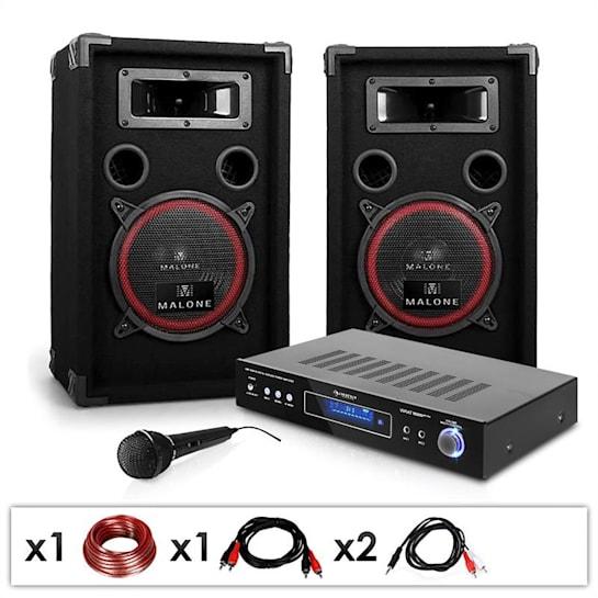 "DJ PA Set ""DJ-10"" 5-Kanal-Surround-Verstärker, Passive PA-Lautsprecher 2x 200 W RMS, Dynamisches Mikrofon, Kabelset"