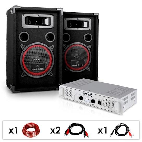 "DJ PA Set ""DJ-15"" PA-Verstärker 400 Watt, PA-Lautsprecher 1000 W, Kabelset"