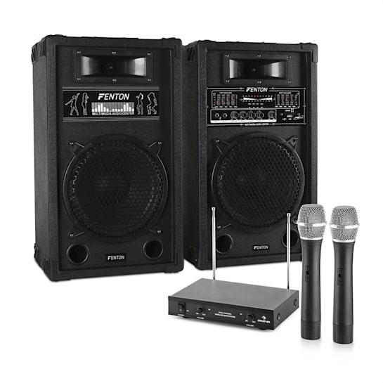 "Impianto Karaoke ""STAR-10"" Set Casse PA attive   Set 2 Canali VHF Radio Microfono"