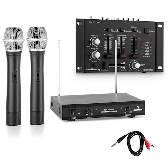 Wireless Microphone Set with 3 Channel Mixer Black