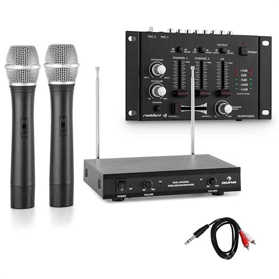 Sada bezdrátových mikrofonů s 3 kanálovým zesilovačem, černá