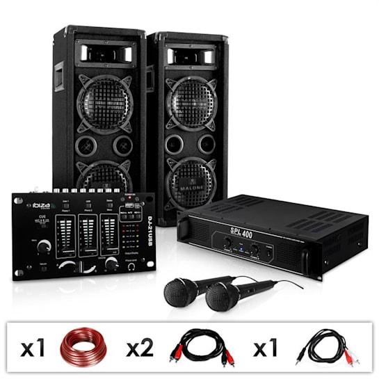 "SET DJ PA ""DJ-24M"" amplificatore, mixer, casse, mic, 1200W"