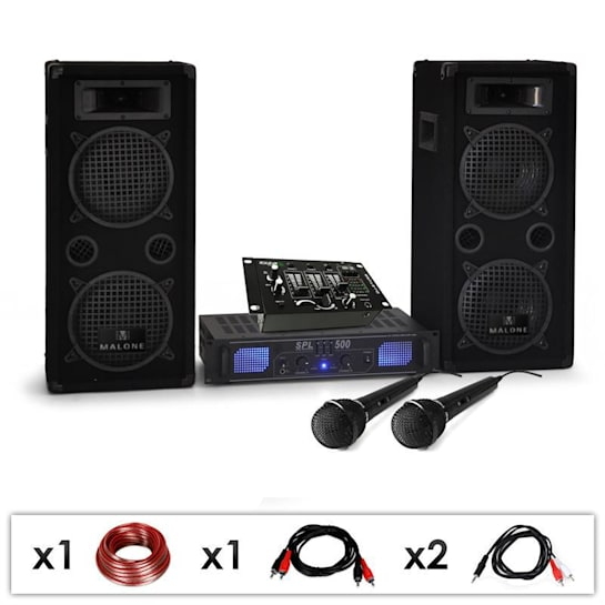 """DJ PA SET """"DJ-25M"""" PA Amp Boxen Mikro Mixer 1600W"""