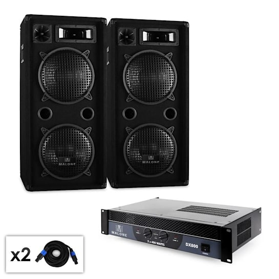 """2.0 """"Beat"""" DJ PA Set mit Verstärker, Lautsprecher & Kabel 1500W"""